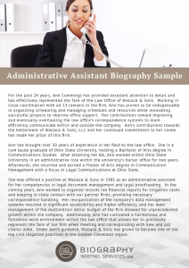 short biography templates administrative assistant biography sample