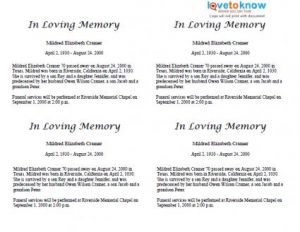 short eulogy examples x basic with family biography obituary thumb