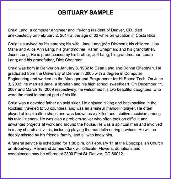 short eulogy examples