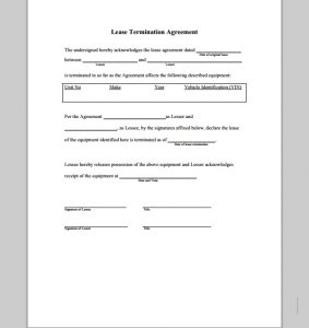 short rental agreement lease termination agreement form