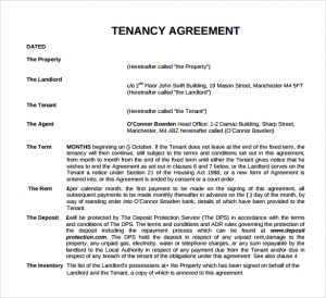 short rental agreement tenancy agreement template