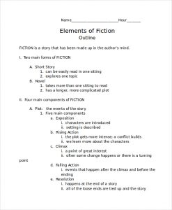 short story outline fiction story outline template
