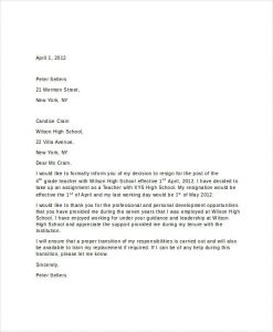 short thank you letter for teacher short resignation letter for teachers