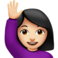 shrug emoji android woman raising hand light skin tone