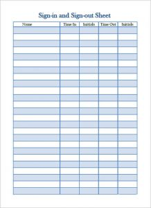 sign in sheet template sign in and sign out sheet template