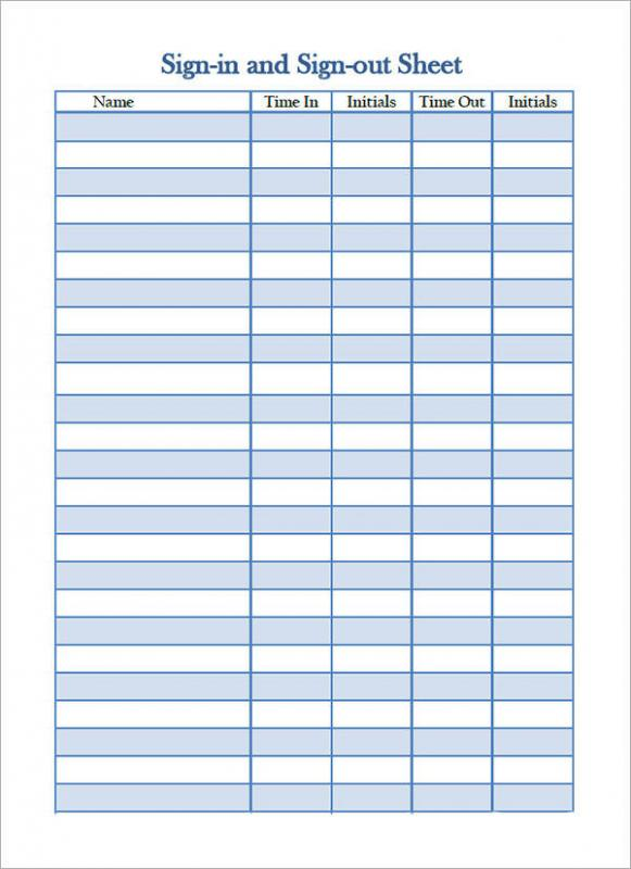 Sign In Sheet Template  Template Business