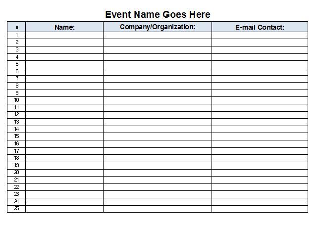 Sign In Sheet Template | Template Business