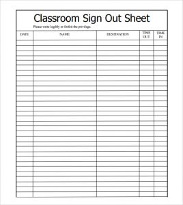 sign out sheet classroom sign out sheet template