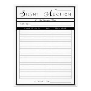 silent auction sheet silent auction form letter sized paper letterhead racbfbdbbff vgg byvr