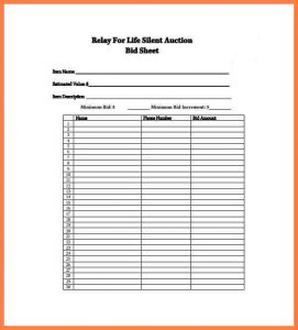 picture relating to Printable Silent Auction Bid Sheets Pdf identify Quiet Auction Sheet Template Business office