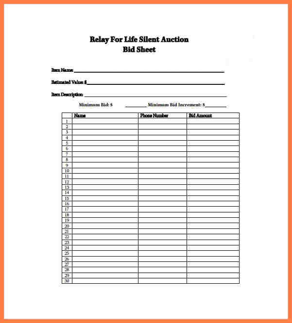 silent auction sheet