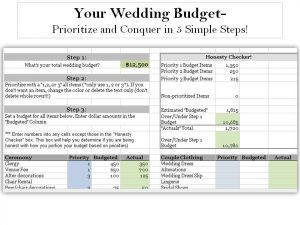 simple budget spreadsheets wedding budget