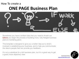 simple business case template a quick one page business plan template