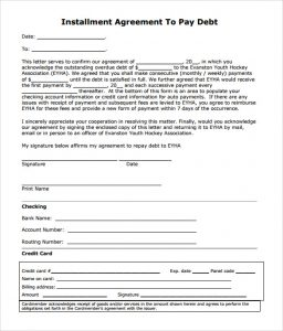 simple business case template installment agreement to pay debt