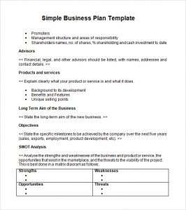 simple business plan example simple business plan template word