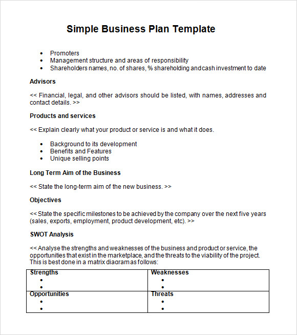 Simple Business Plan  Template Business