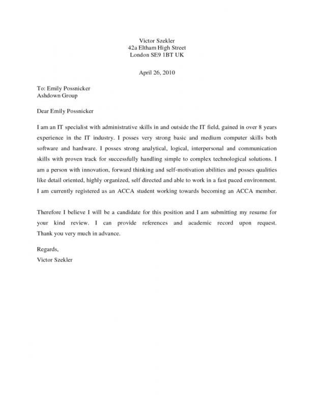 Simple Cover Letter Samples  Simple Cover Letter Template