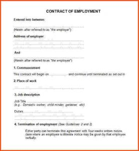 simple employment agreement employment contract template free employment contract template doc