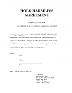 simple hold harmless agreement hold harmless agreement