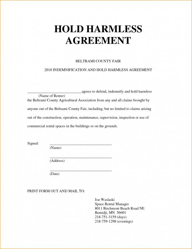 simple hold harmless agreement