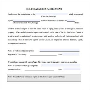 simple hold harmless agreement hold harmless agreement pdf