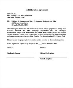 simple hold harmless agreement hold harmless agreement real estate