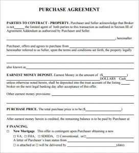 simple home purchase agreement sample purchase agreement