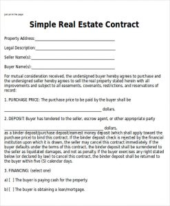 simple home purchase agreement simple home sales contract