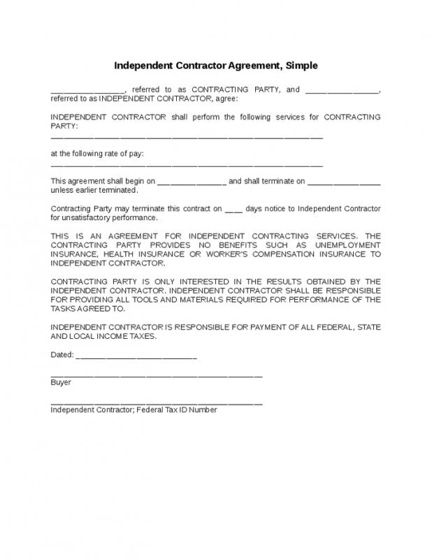 Simple Independent Contractor Agreement  Contractor Agreement Template Word