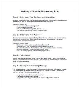 simple marketing plan free simple marketing plan template
