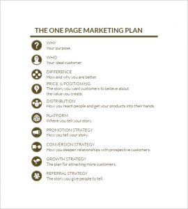 simple marketing plan simple one page marketing plan