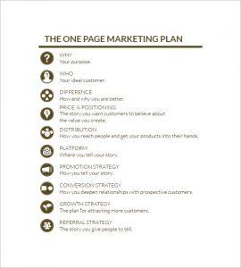 simple marketing plan simple one page marketing plan