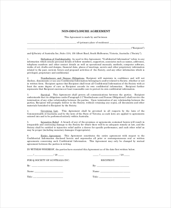 simple non disclosure agreement