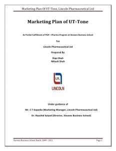 simple one page business plan template report on marketing plan of ut tone
