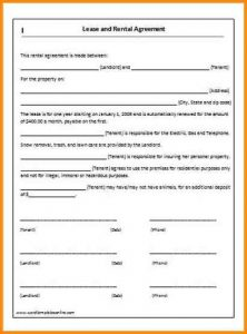 simple one page lease agreement simple one page rental agreement bbacdfcecdabf
