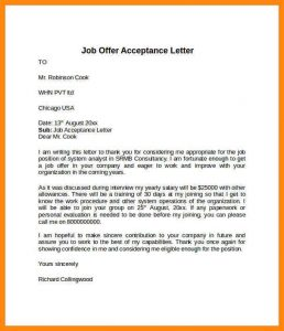 simple personal financial statement acceptance letter offer acceptance letter example