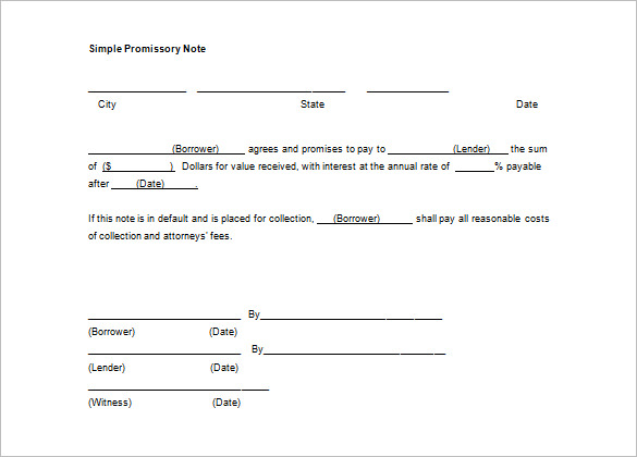 secured promissory note template free download - simple promissory note template business