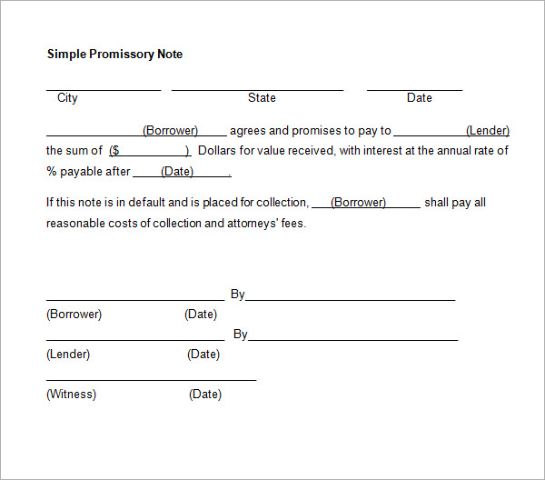 Simple Promissory Note No Interest  Template Business