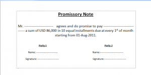 Simple Promissory Note Promissory Note  Promise To Pay Note