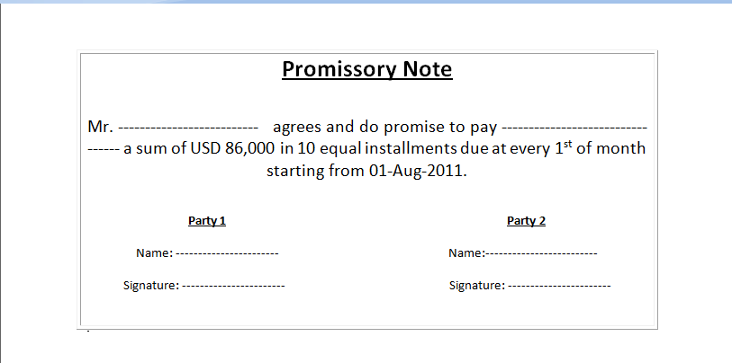 Simple Promissory Note  Basic Promissory Note