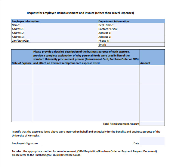 Simple Reimbursement Form  Template Business
