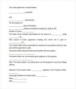simple rental agreement form basic rental agreement
