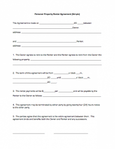 simple rental agreement form personal property rental agreement (simple)