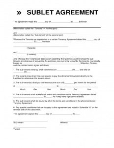 simple rental agreement month to month sublet contract form waterloo l