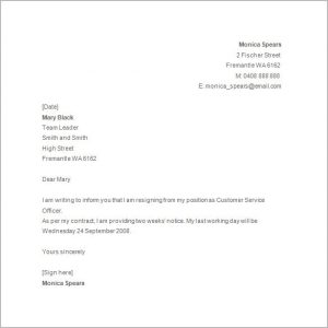 Simple resignation letter template business simple resignation letter basic resignation letter template expocarfo