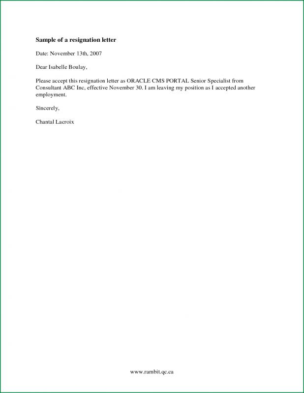 basic resignation letter simple resignation letter template business 20568