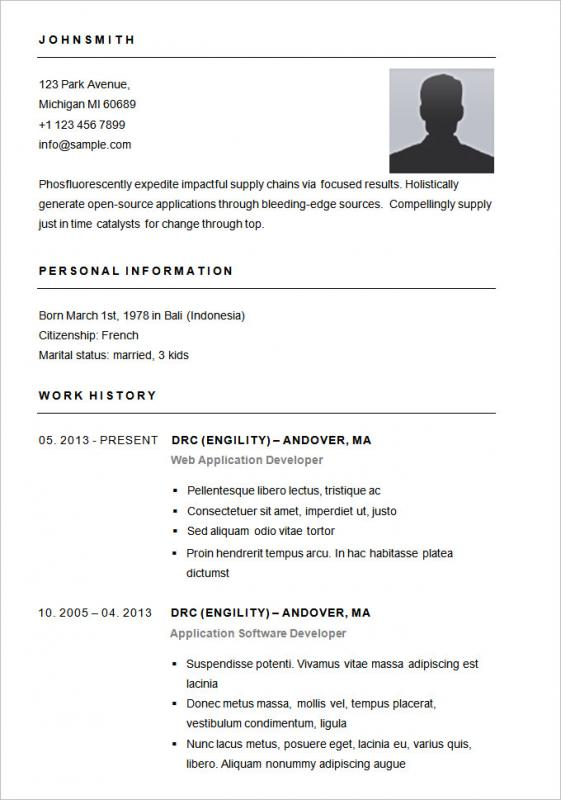 Simple Resume Format In Word  Word Resume Format