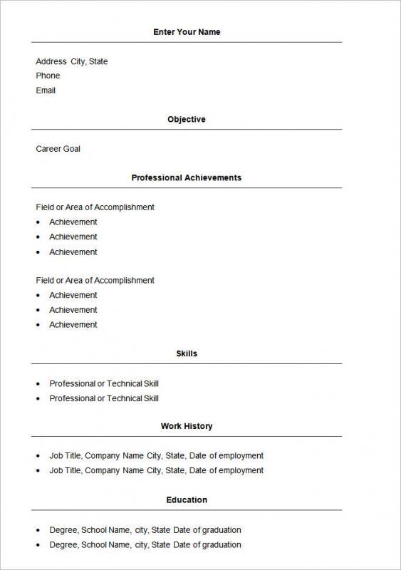 simple resume format in word