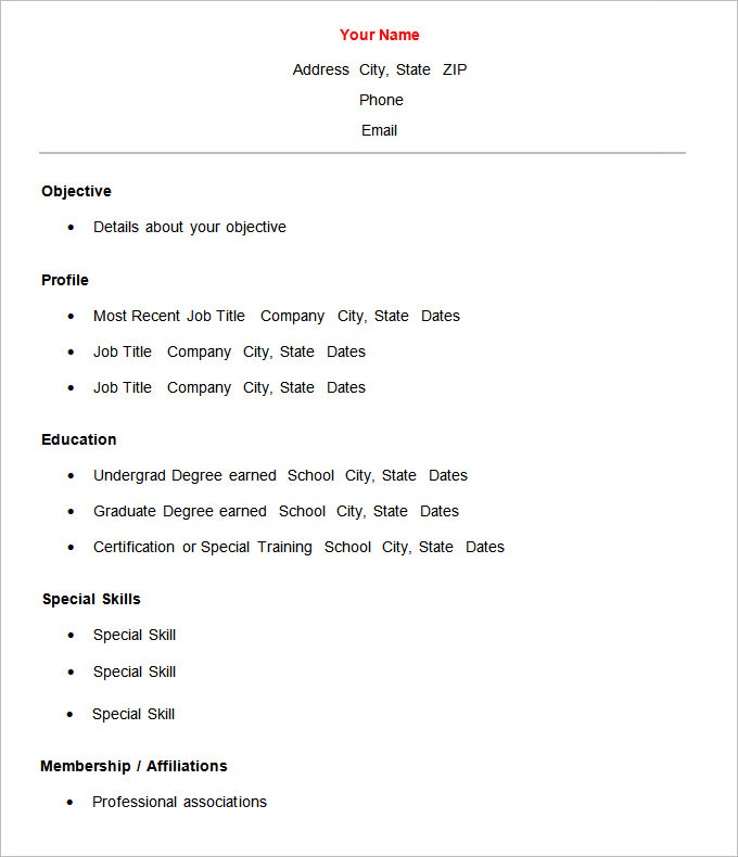Simple Resume Format In Phrase  Resume Simple Format