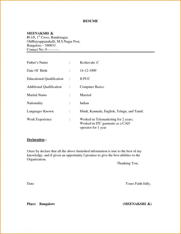Wonderful Simple Resume Format In Phrase